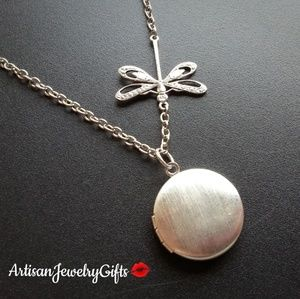 Silver Dragonfly Locket Necklace